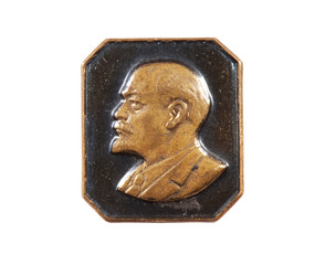 Lenin badge. Studio shot. White background
