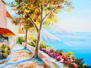 painting - house near the sea, seascape