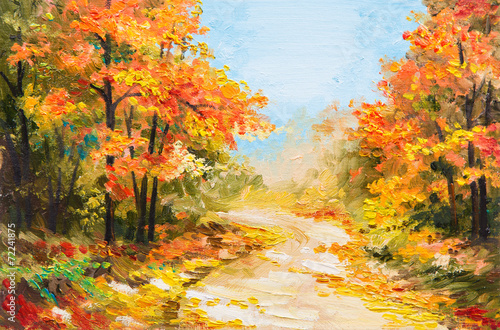 oil painting - autumn forest плакат