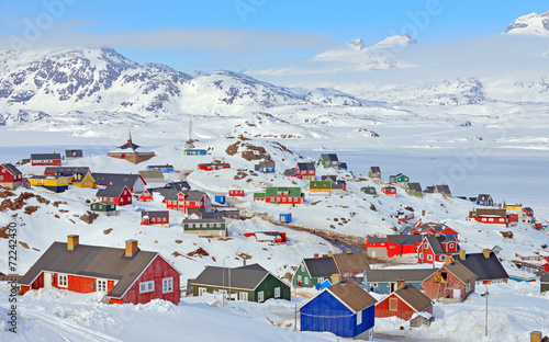 Plexiglas Antarctica Colorful houses in Greenland