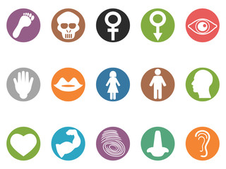 human feature round buttons icons set