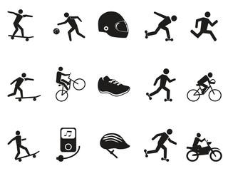 street sport biking skating skateboarding icons set