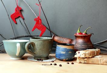 Christmas still life with coffee and cinnamon