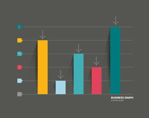 Business flat design graph on black background