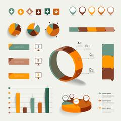 Set of flat infographic elements.