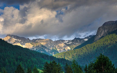Monzoni mountain range at sunset, Dolomites