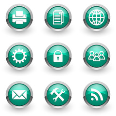 green chrome vector icons set