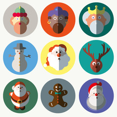 Christmas santa claus wisemen icons vector set