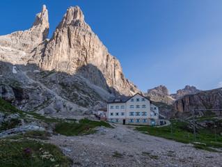 Vajolet mountain hut and Rosengarten mountain range, Dolomites