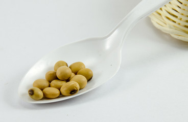 soy bean on white spoons