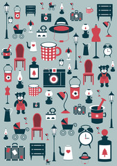 Retro design background. Collection of flat icon.
