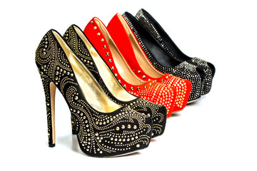 Fashionable High heels shoes with rhinestones and rivets