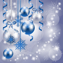 Christmas background in blue and silver with copy space
