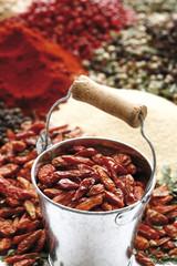Eine Auswahl der Gewürze, getrocknete Chilis