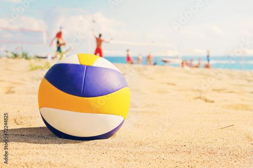 beach volleyball ball in sands - 72244825
