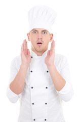 portrait of shocked man in chef uniform isolated on white