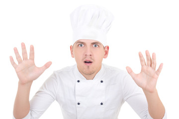funny shocked man in chef uniform isolated on white