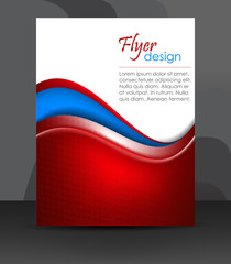 Professional business flyer template with wave pattern