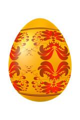 Golden easter egg with red floral ornament. Vector illustration.