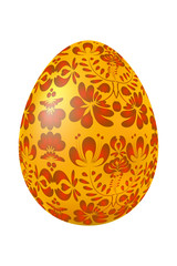 Easter egg with yellow traditional Russian red floral ornament.