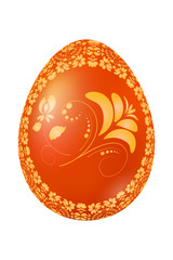 Easter red egg with Russian traditional yellow floral ornament.