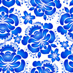 Bright floral seamless background. Flowers Gzhel. Vector illustr