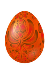 Orange Easter egg with elements of traditional Russian painting.