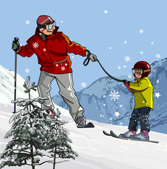 Father and son skiing in the mountains