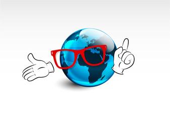 mascotte mondo, mani , occhiali