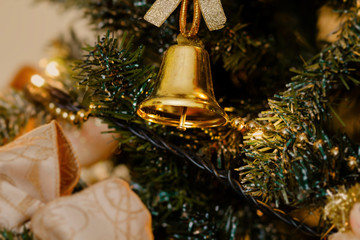 golden bell, christmas decorations
