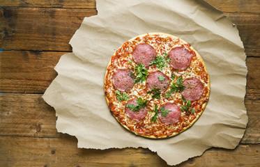 original italian pizza salami, free copy space