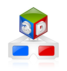 Anaglyphic 3D glasses and cube