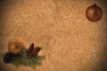 Textured old grunge paper background with pine cones, coniferous