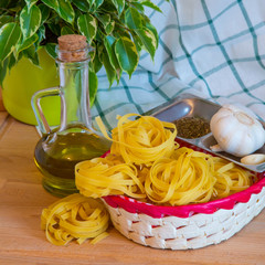 Italian Pasta tagliatelle, garlic and olive oil