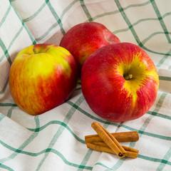Ripe apples and cinnamon sticks