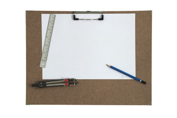 Art board and stationary isolated white background