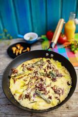 Frittata with chantarelle mushrooms - Italian cuisine