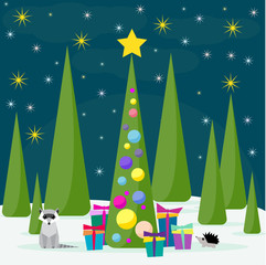 Funny winter holidays card background with raccoon and spruse
