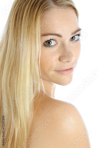 canvas print picture Hübsche Frau mit langen blonden Haaren