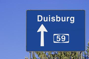 Wegweiser auf A 59, Richtung Duisburg