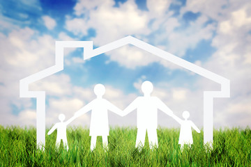 Concept of happy strong family into the home against blue sky