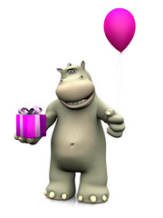 Cartoon hippo holding birthday gift and balloon.