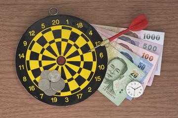 Dart, target, clock, and Money