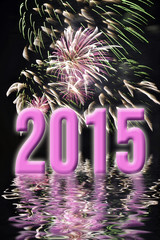 2015, pink fireworks and water reflections