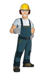 Hombre con ropa de trabajo y protecciones