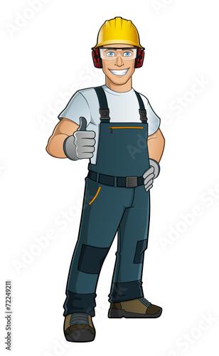 Hombre con ropa de trabajo y protecciones - 72249211