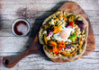 Pizza with root vegetables, cottage cheese, egg and flowers - 72249485