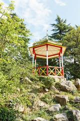 wooden kiosk in Nikitsky Botanical Garden