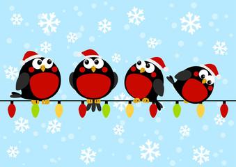 Cute little birds with light bulbs