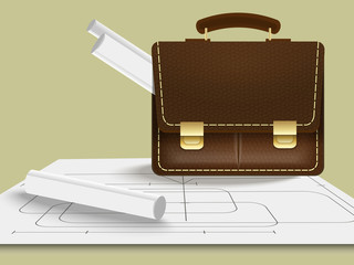 briefcase with blueprints